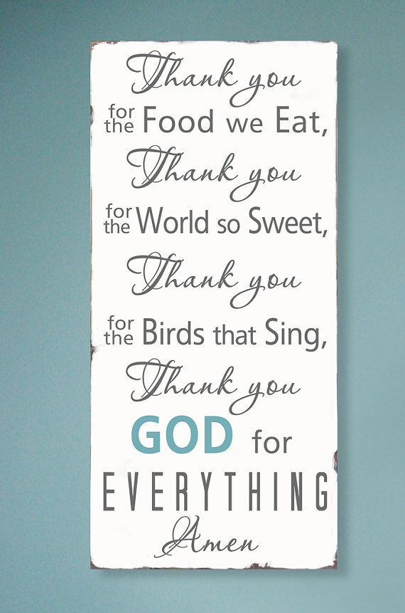 Thank you for the food we eat  Blessing - Typography Word Art Sign.   LOVE this!!