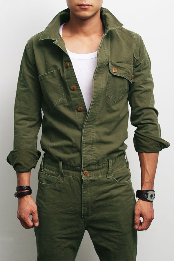0d985afe3d73 Military Look Khaki One Piece Jumpsuit