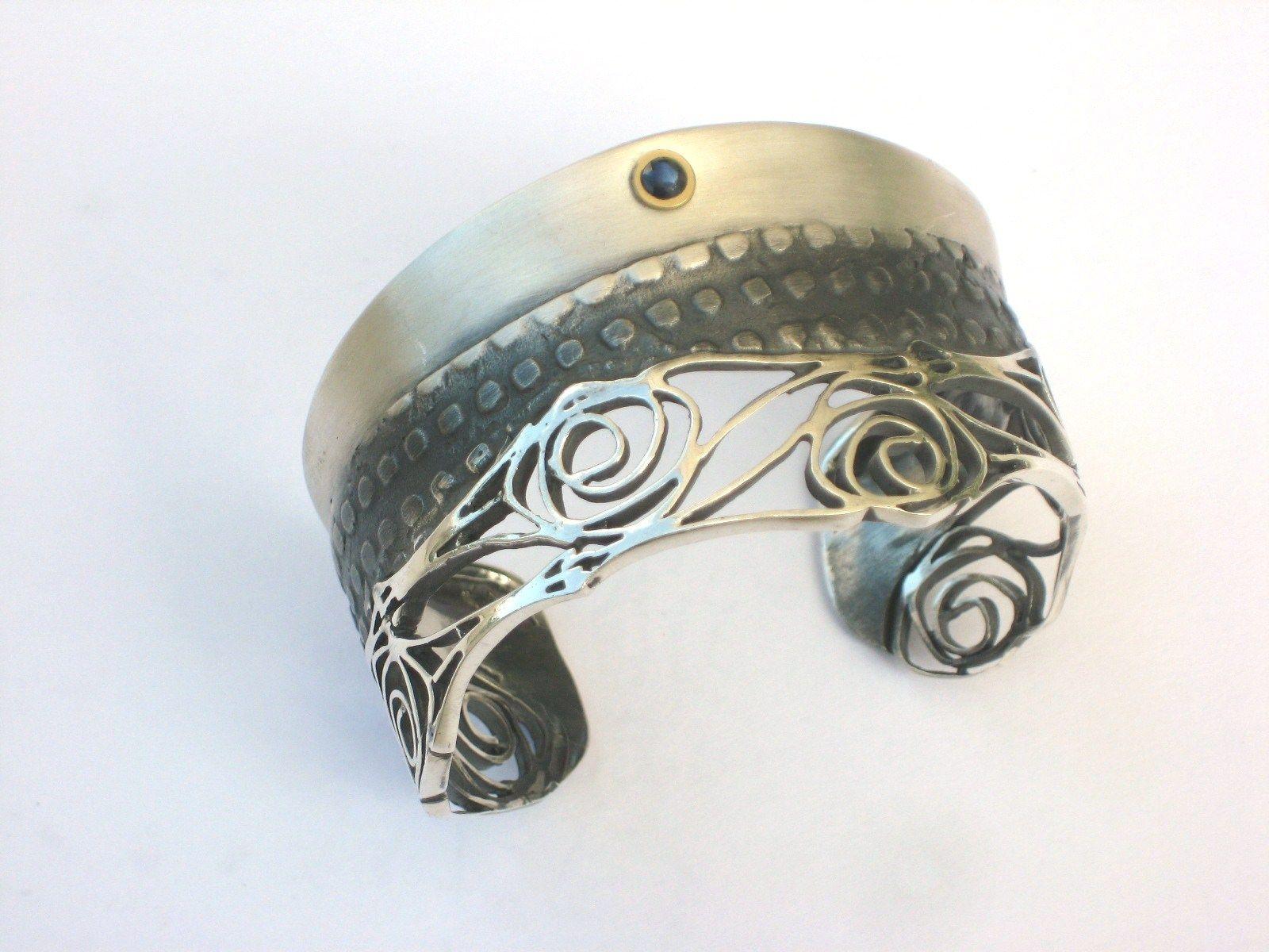 Modern take on art nouveau inspired bracelet cuff sterling silver
