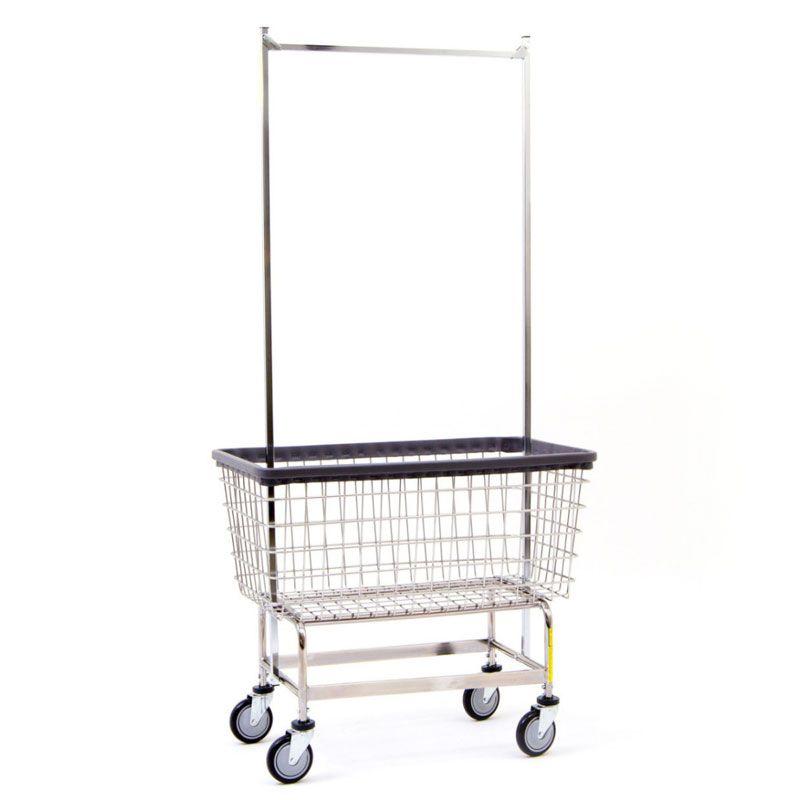 Mega Capacity Wire Frame Laundry Cart W Double Pole Rack 6