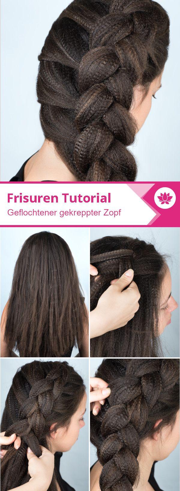 Frisuren Bilder Seitlich Geflochtener Zopf Aus Gekreppten Haaren Frisuren Haare Geflochtene Frisuren Haar Styling Flechtfrisuren