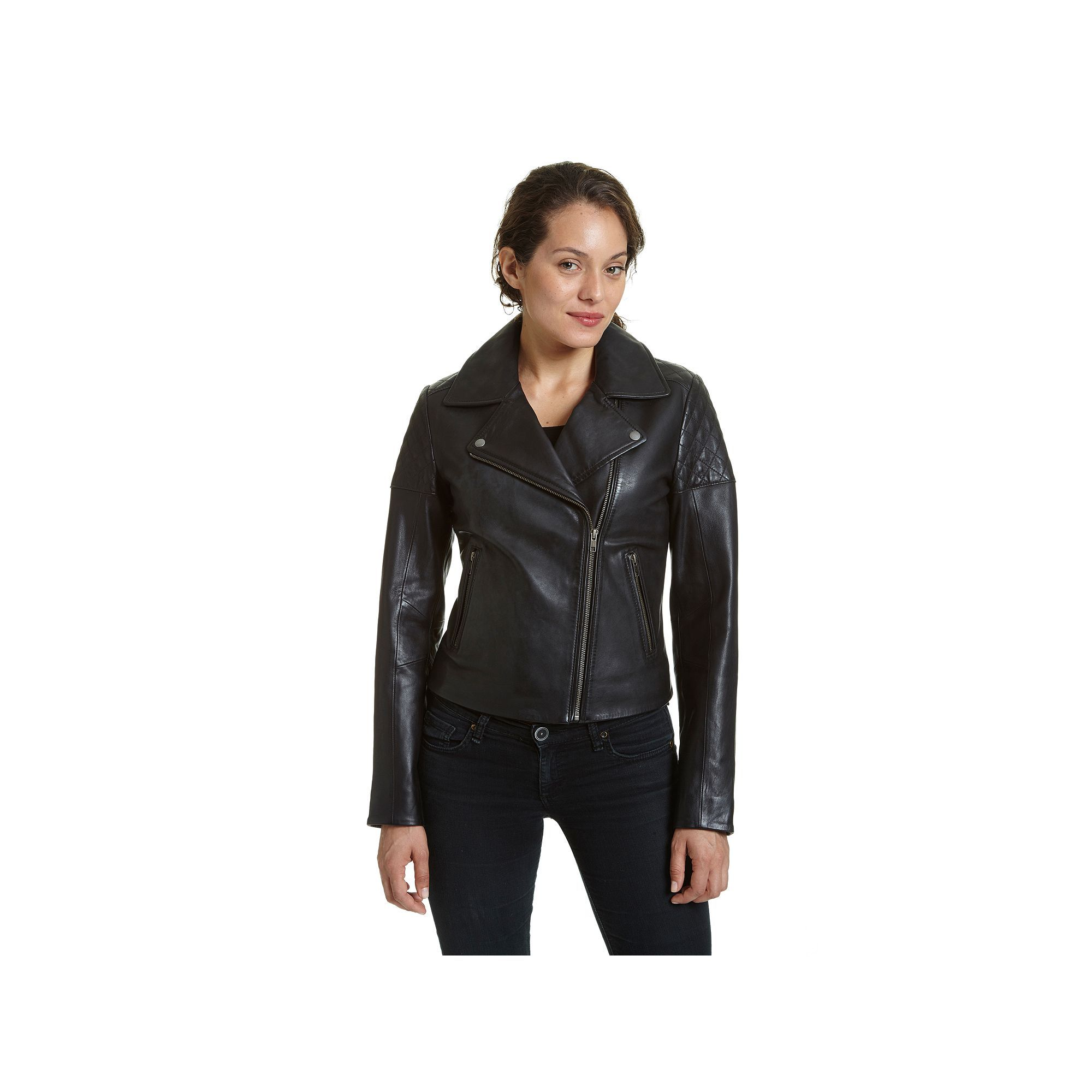 Women's Excelled Asymmetrical Leather Motorcycle Jacket, Size: Medium, Black