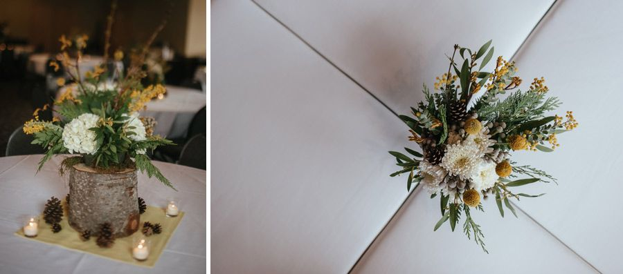 Matt Shumate Photography at Schweitzer Mountain Resort winter wedding yellow bouquet