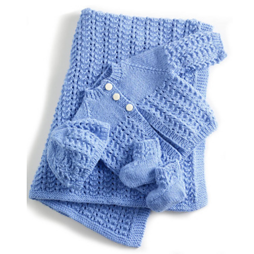 Ravelry Lullaby Layette Aqua Layette Set Pattern By Lion Brand