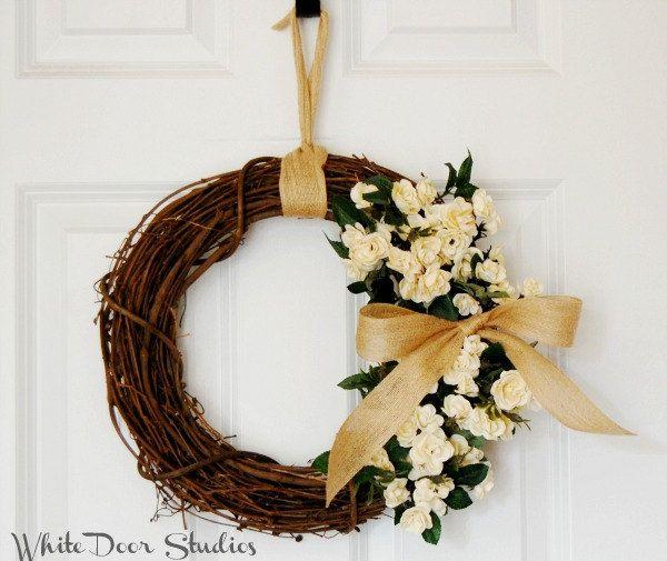 Cream Rose Wreath | Front Door Wreath | Year Round Wreath | Farmhouse Wreath  | Miniature Rose Wreath | Housewarming Gift