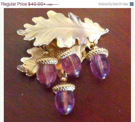 Swarovski Crystal Brooch - Amethyst Jewelry - Autumn Oak leaf with acorn charms