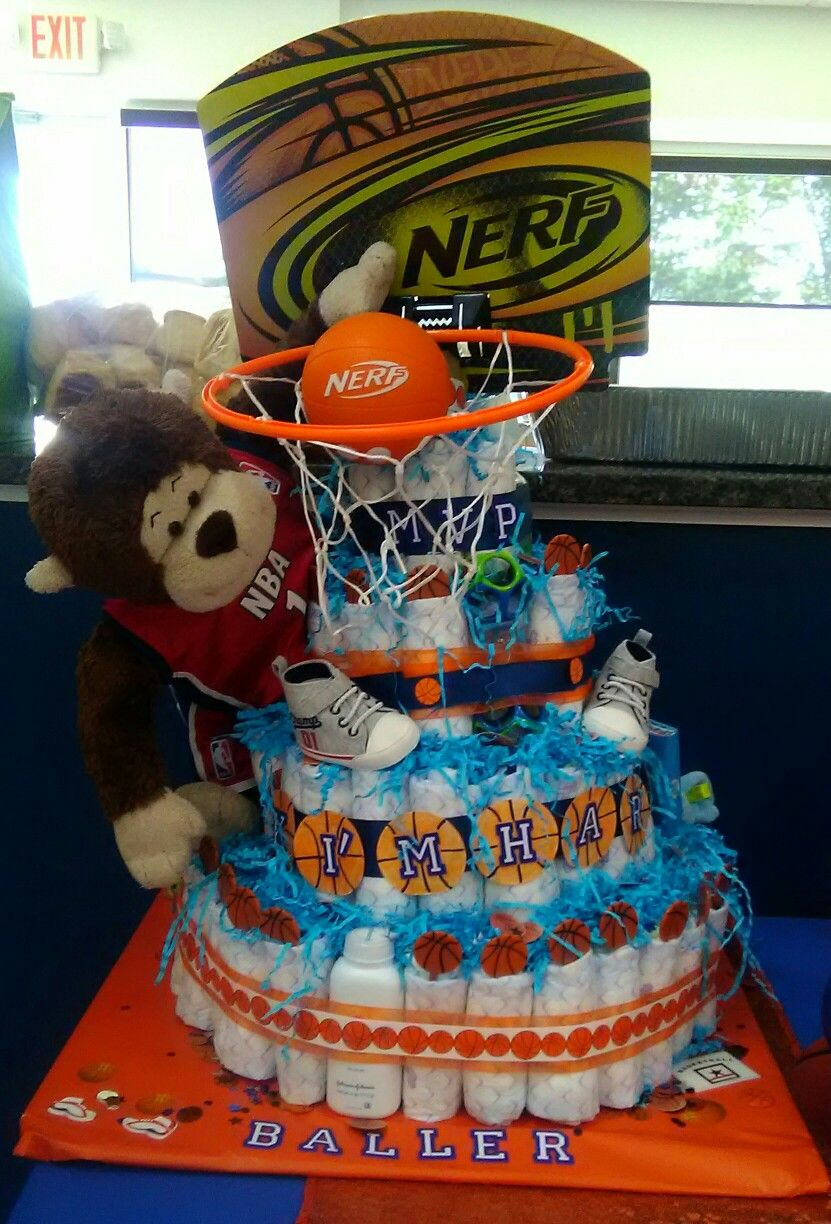 Basketball Theme Diaper Cake With Images Baby Diaper Cake Boy