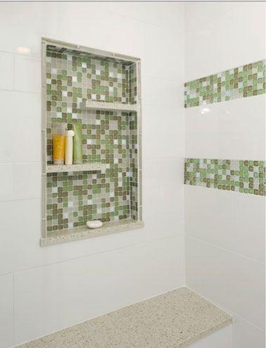 Rangement salle de bain avec niche encastrée dans carrelage | Salle ...