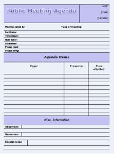 Public Meeting Agenda  Office Templates