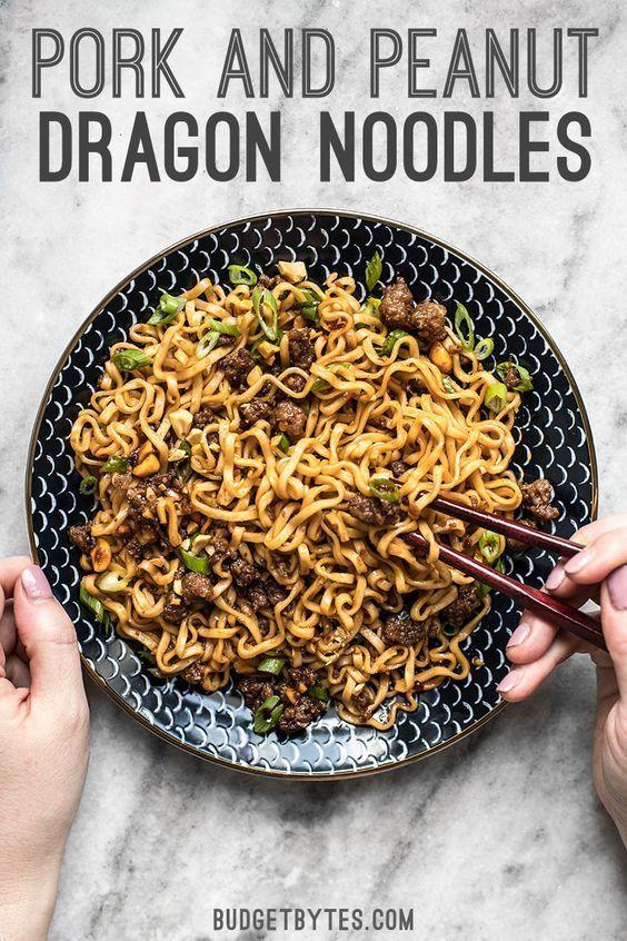 Pork and Peanut Dragon Noodles #easycomfortfood