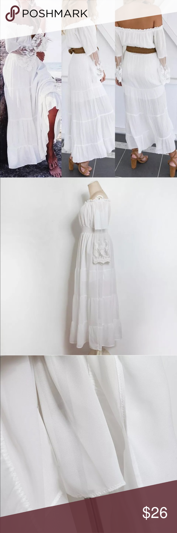 Women maxi white lace beach vacation comfy dress boutique in
