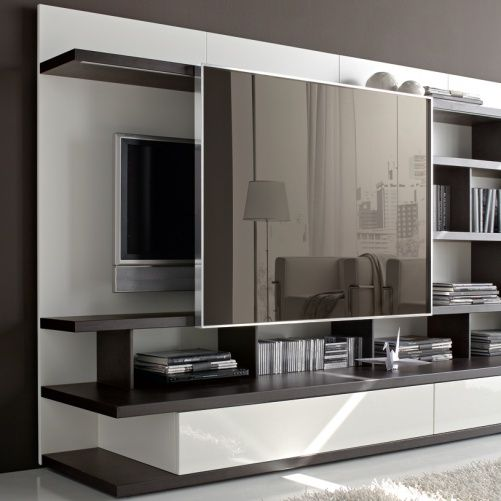 Living Room Storage Systems: Sliding Mirror Concealing TV Odion Free Standing TV/Wall