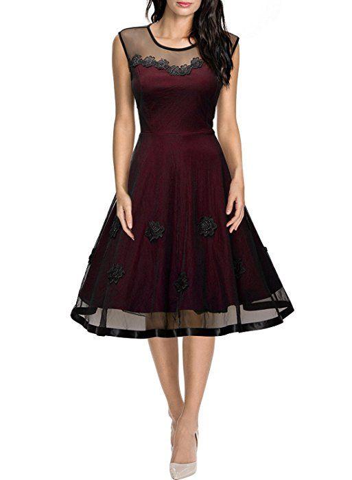 Missmay Damen Elegant Abendkleid Vintage 1950er Rundhals Kleid ...