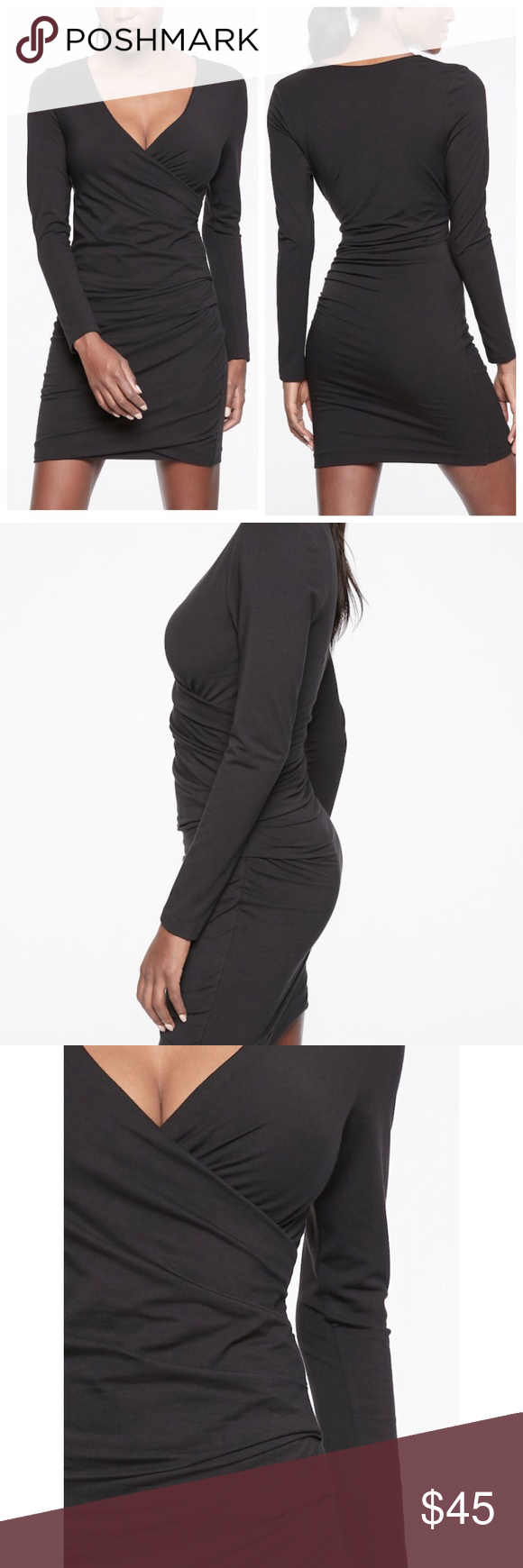 Nwt Athleta Wilder Ruched Black Dress Xl Tall Black Ruched Dress Black Long Sleeve Dress Dresses [ 1740 x 580 Pixel ]