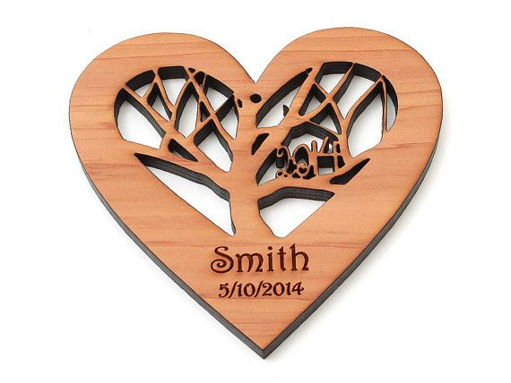 Rooted Wood Heart Ornament with Engraved Gift by TimberGreenWoods