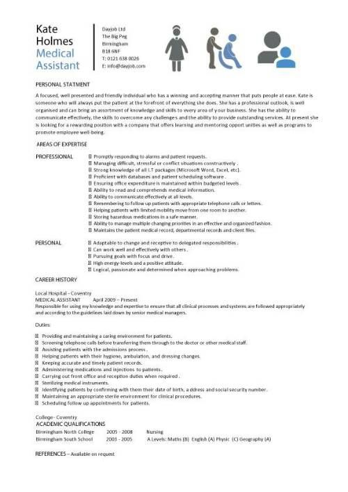 Medical Assistant resume samples, template, examples, CV, cover - resume for a medical assistant