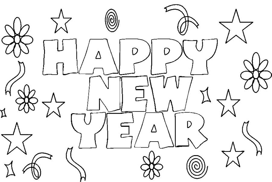 Pictures New Year Cards Coloring Pages | WORDS coloring pages ...