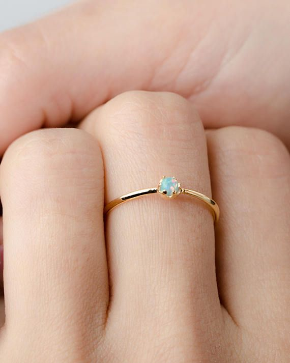 Small Natural Opal ring Stackable ring Bridesmaid gift Thin sterling silver ring with stone Gemstone ring Crystal jewelry