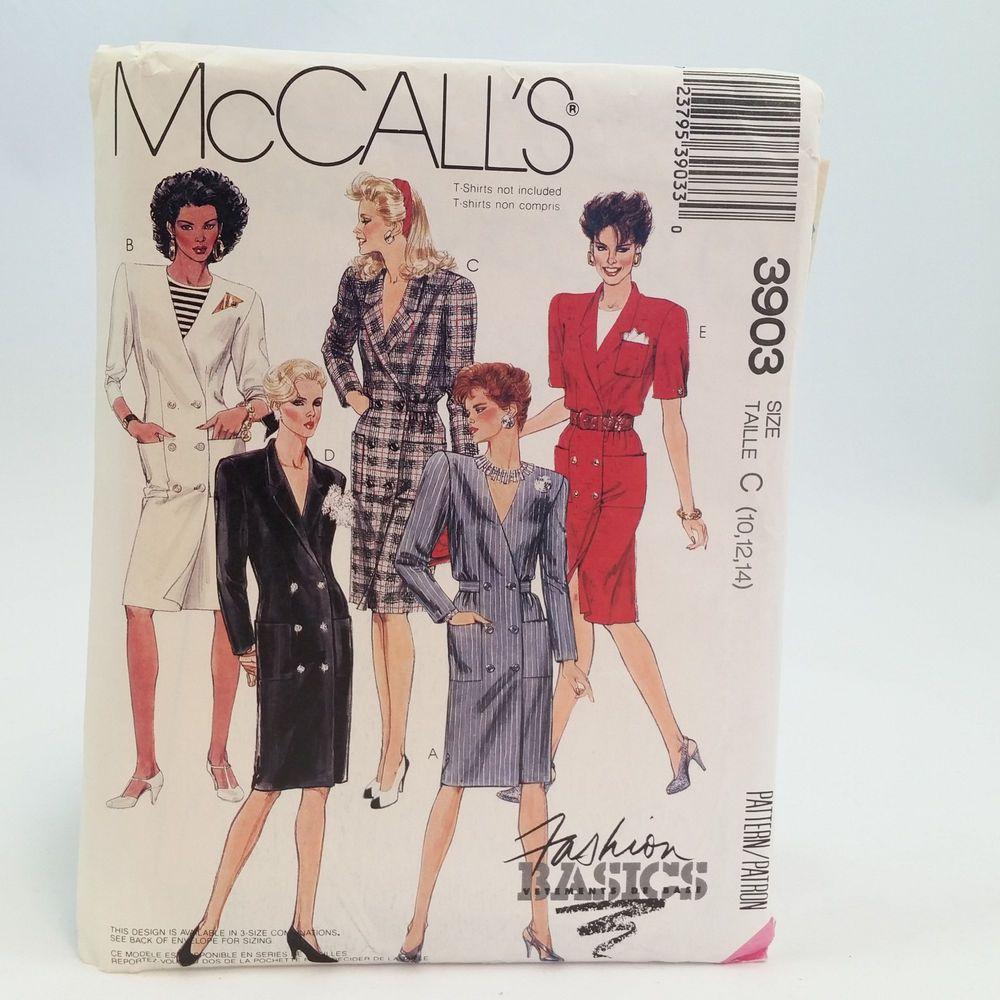Ladies Buttoned Dress Sz 10 12 14 UNCUT Vtg McCalls 3903 Pattern ...