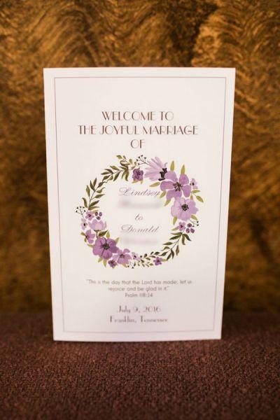 Vistaprint Wedding Programs Rustic Franklin Tennessee Purple Green Wreath