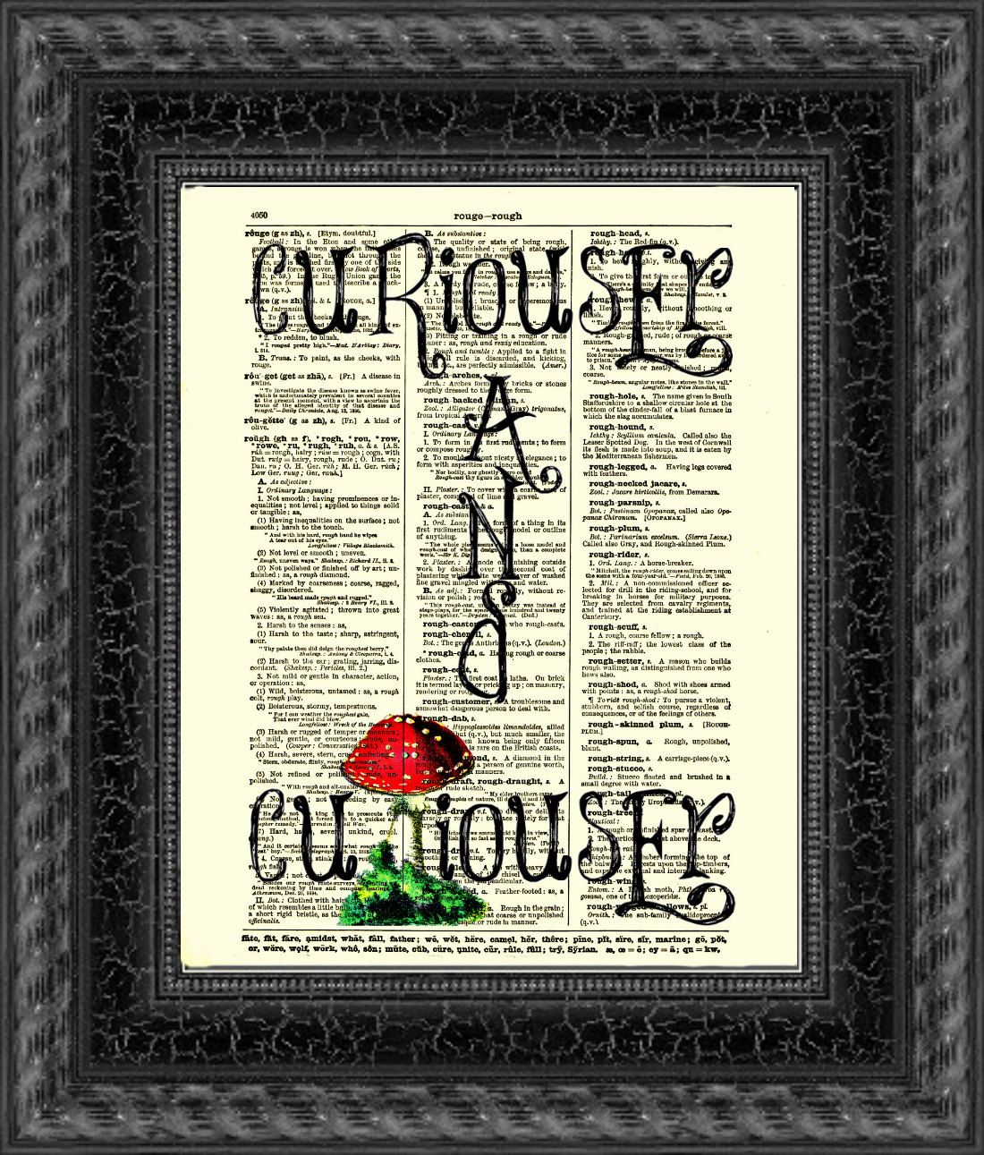 Dictionary art print Alice in Wonderland Curiouser on antique book page Wall dec