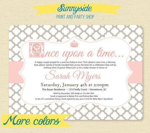 Fairytale Storybook Baby Shower Invite Princess Invitation – Baby Birth Party Invitation