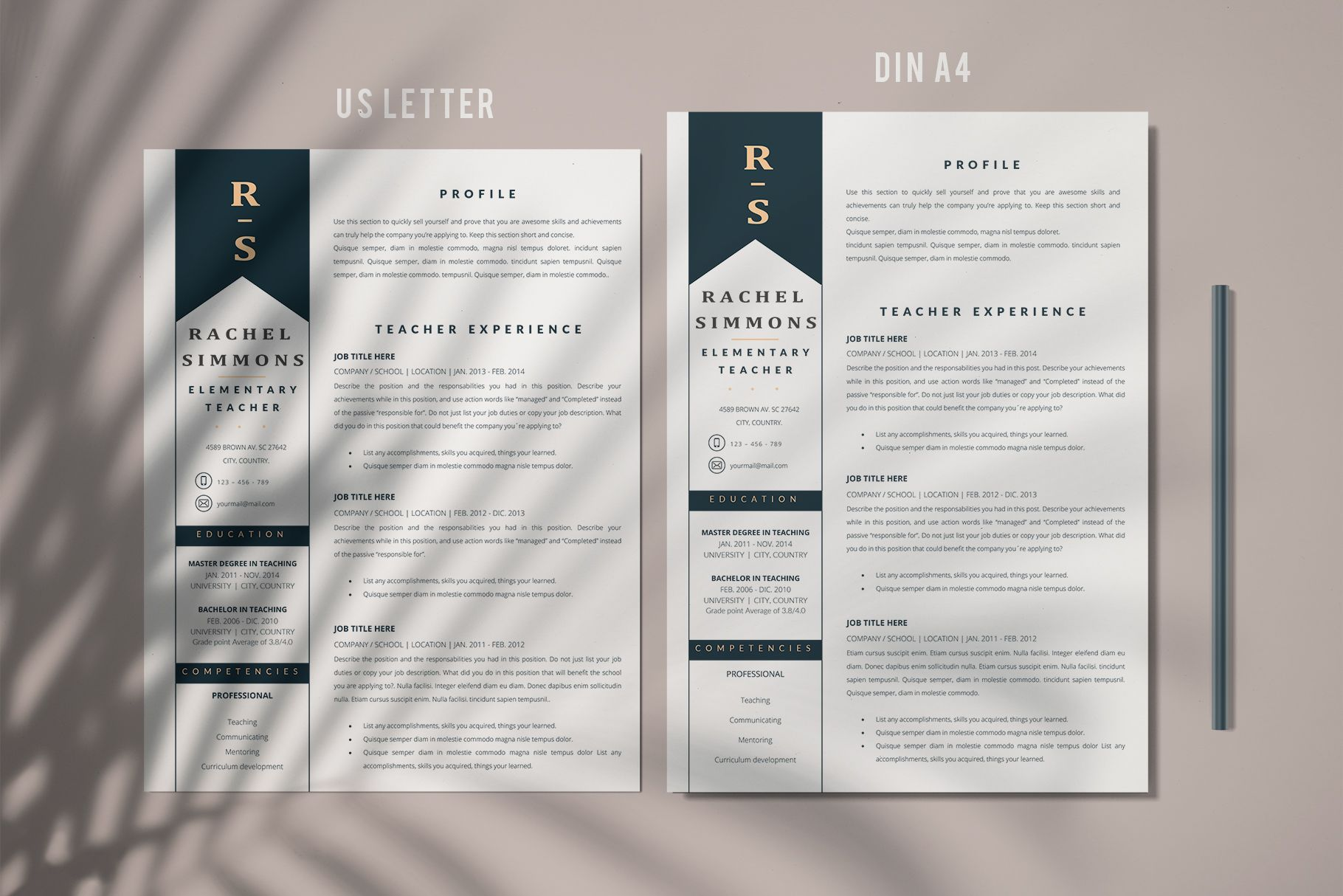 Creative Resume Templates For Ms Word And Mac Pages Professional Resume Templat Teacher Resume Template Creative Resume Templates Resume Template Professional