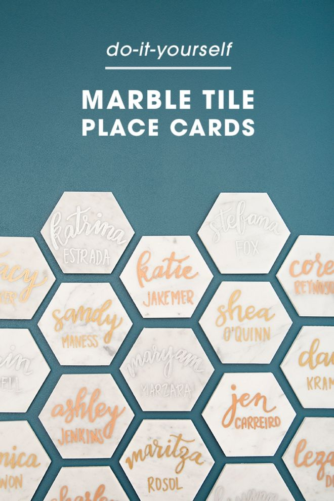 These DIY Hexagon Marble Tile Place Cards Are A MUST SEE! DIY
