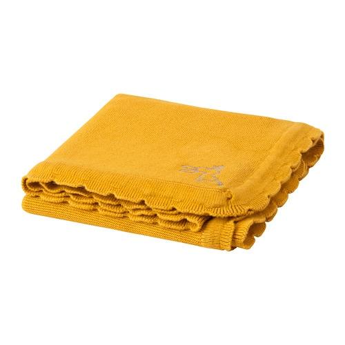 """SOLGUL Baby blanket dark yellow 27 1/2x35 3/8 """" Ikea"""