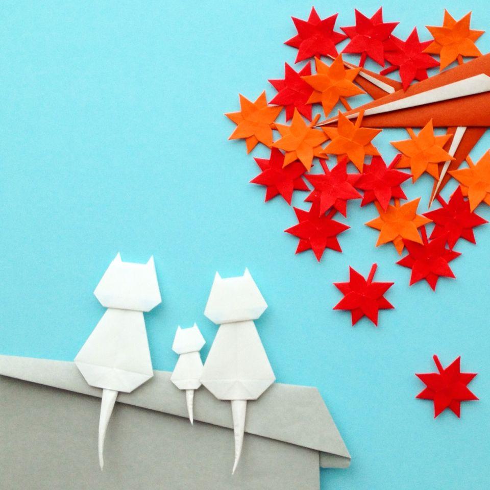 origami hojas de otono