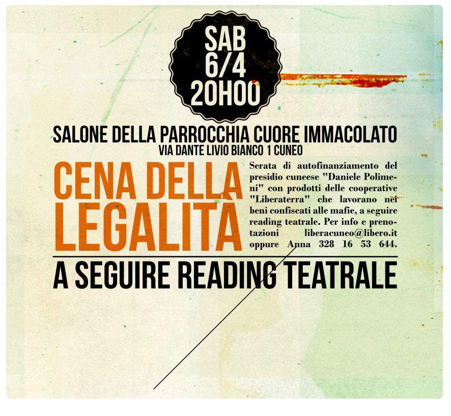 """sabato 6 aprile """"Cena della Legalità"""" a Cuneo con i prodotti delle cooperative Liberaterra. Info e prenotazioni: liberacuneo@libero.it"""