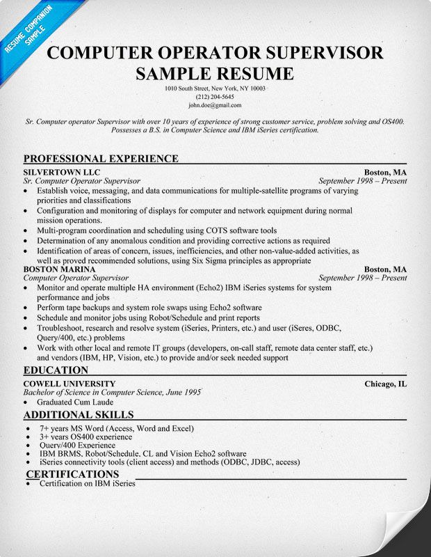 Computer Operator Experience Cv Cover letter samples Cover