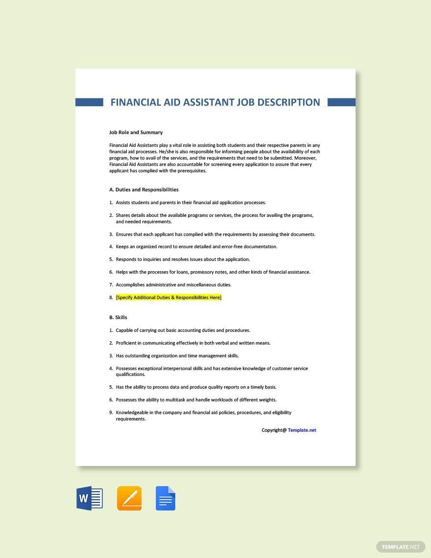 Financial aid assistant job description template free pdf