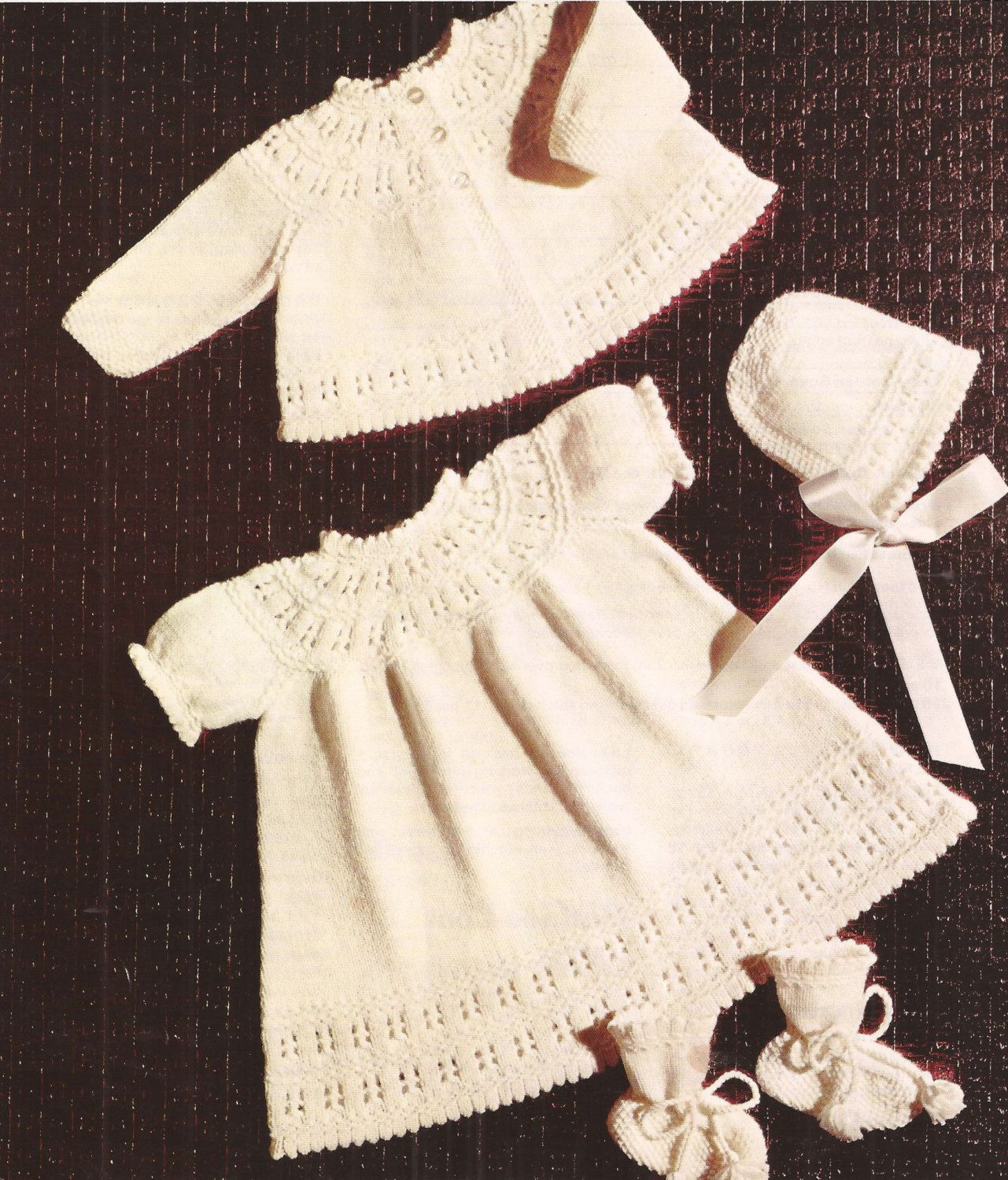 PDF Knitting Pattern Baby Pram Set Coat Dress and Bootees to | Bebek ...