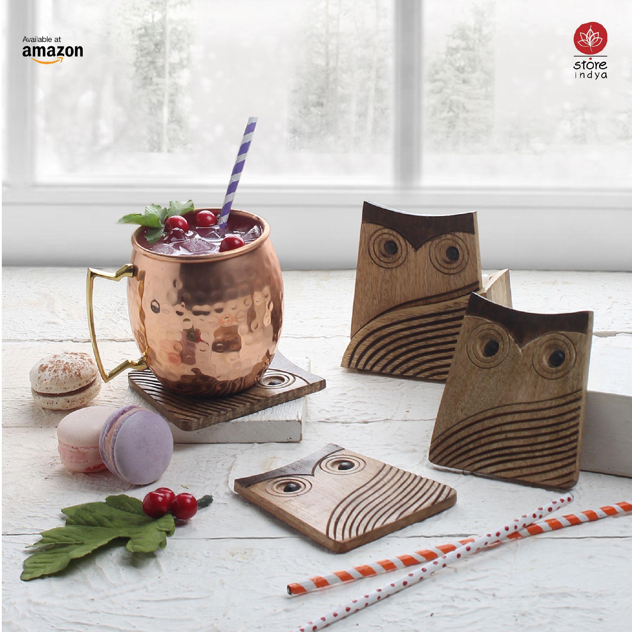 Amazon.co.uk Store Indya Coasters With Holder Wooden