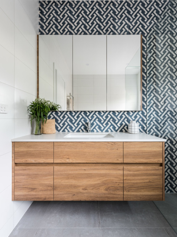 Heres How To Use A Feature Tile In Bathroom Create Stunning Wall Behind The Vanity Add Hung Custom Made Timber And Be Smart