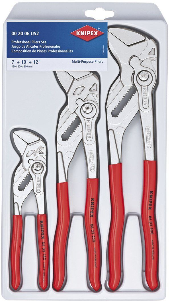 Knipex 00 20 06 Us2 3 Piece 7 10 And 12 Pliers Wrench Set Slip Joint Pliers Amazon Com With Images Pliers Wrench Set Tools