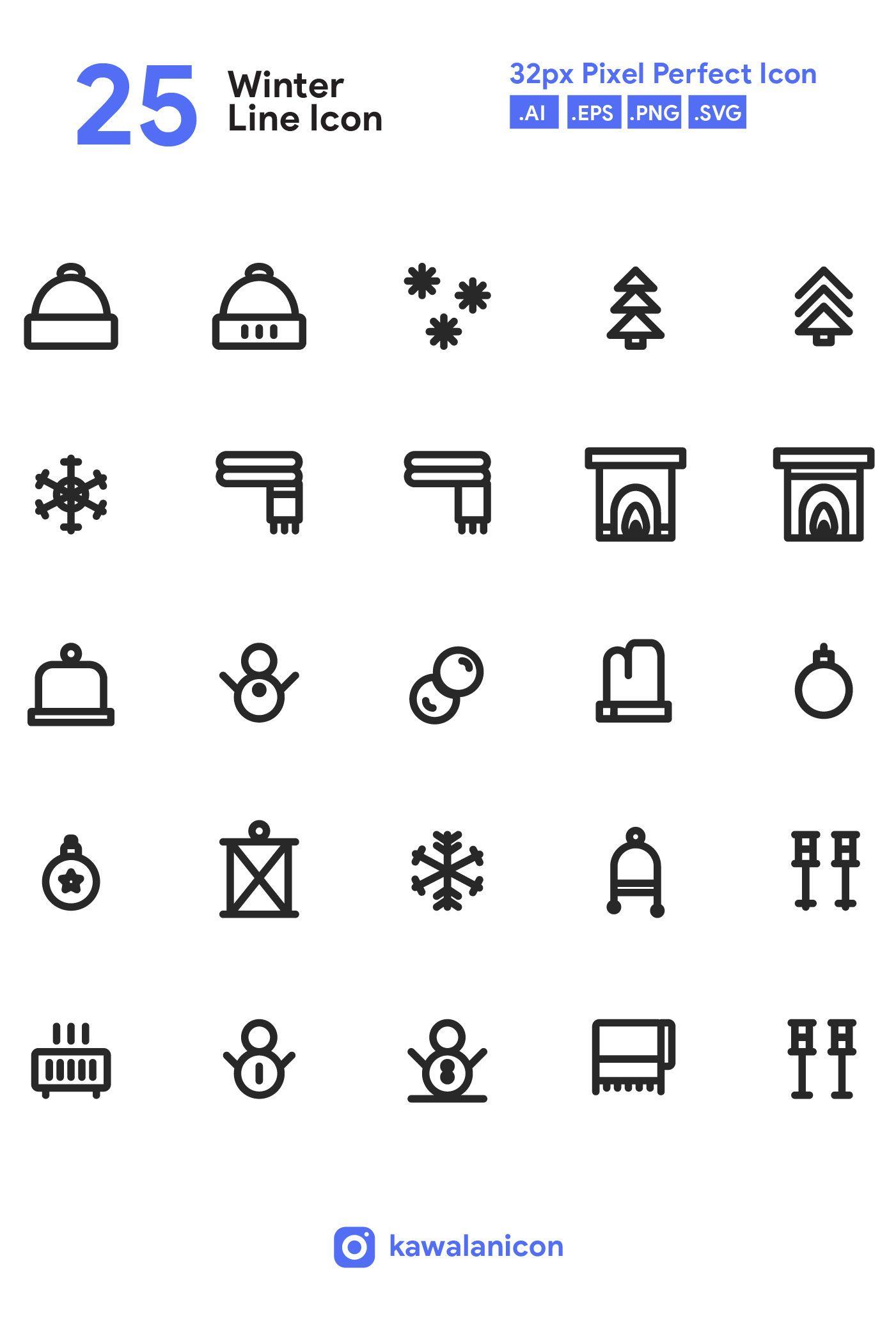 25 Winter Line Icon Set On Behance Icon Set Line Icon Icon