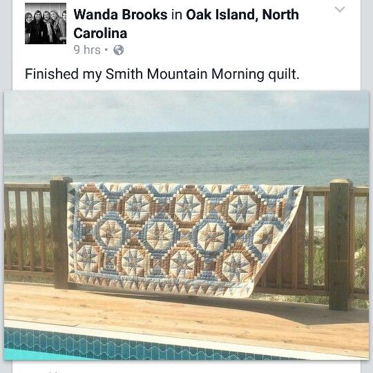 Wanda finished her Smith Mountain Morning quilt and displayed it in front of a wonderful view of the North Carolina shoreline along Oak Island! Can't you just feel the breeze wafting that quilt corner? Beautiful job, Wanda! You can find the pattern for Smith Mountain Morning in my book Scraps and Shirttails II. Signed copies available on my website at http://quiltville.com #quilt #quilting #patchwork #quiltville #bonniekhunter #quiltsbyyou