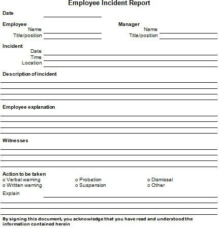 Free Incident Report Template Free Business Template Free Business