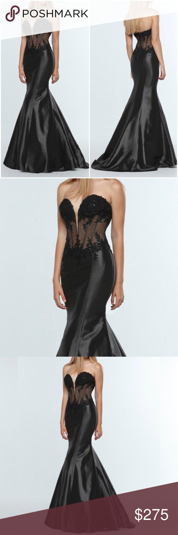 Nina Canacci 8051 Black Sheer Embellished Bodice Gown 2015