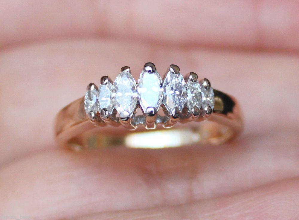 New zales 14k 1 2ct marquise diamond ring wedding anniversary band