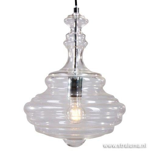 hanglamp transmir glas chroom slaapkam