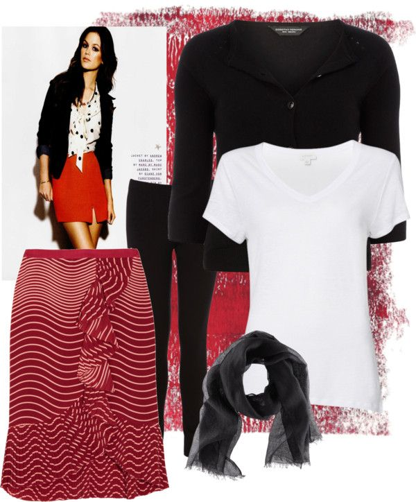 """""""red ruffle skirt"""" by prairie-crocus ❤ liked on Polyvore"""