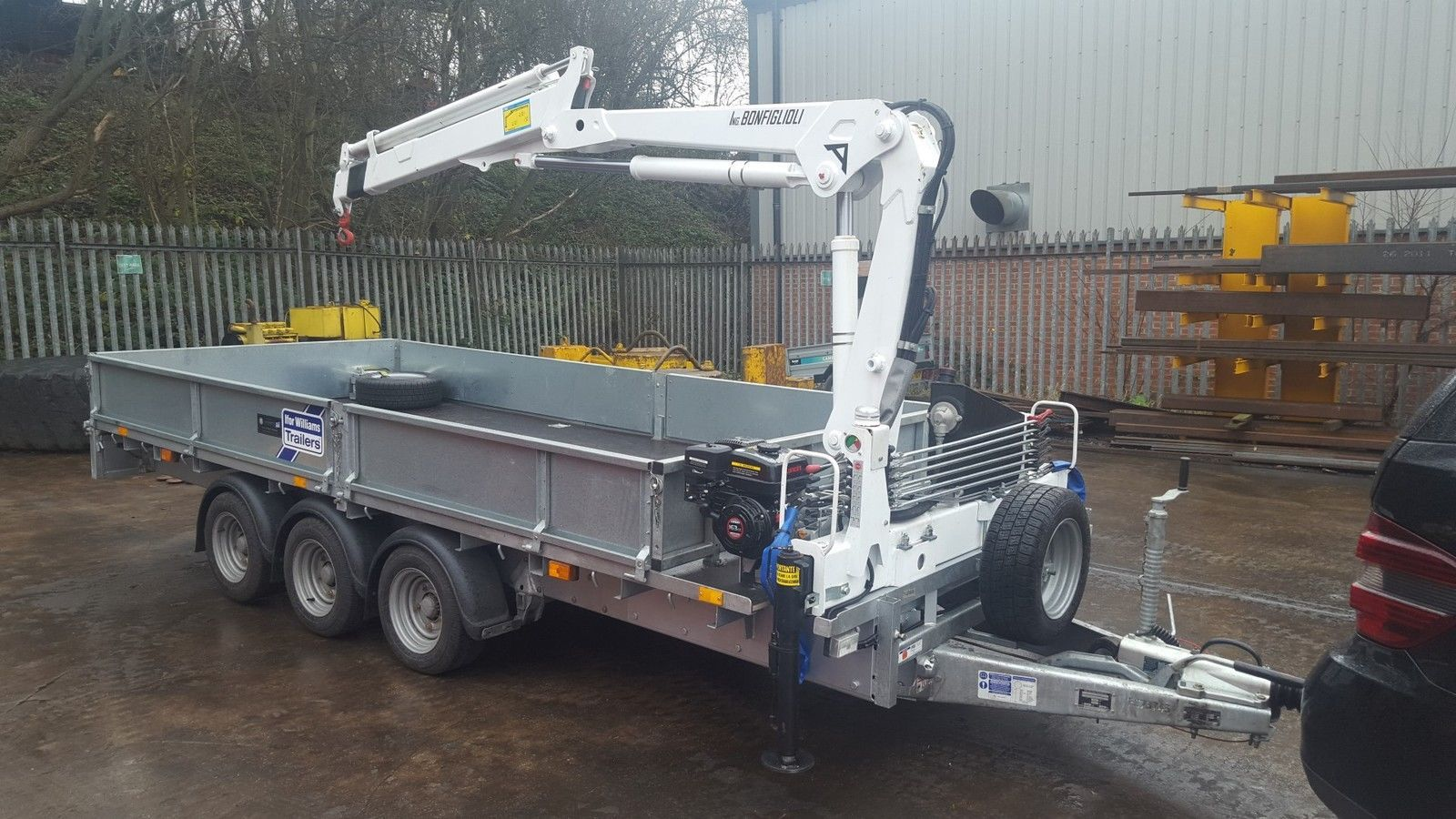 hight resolution of new ifor williams trailer fitted with 2 3 t m crane hiab ebay