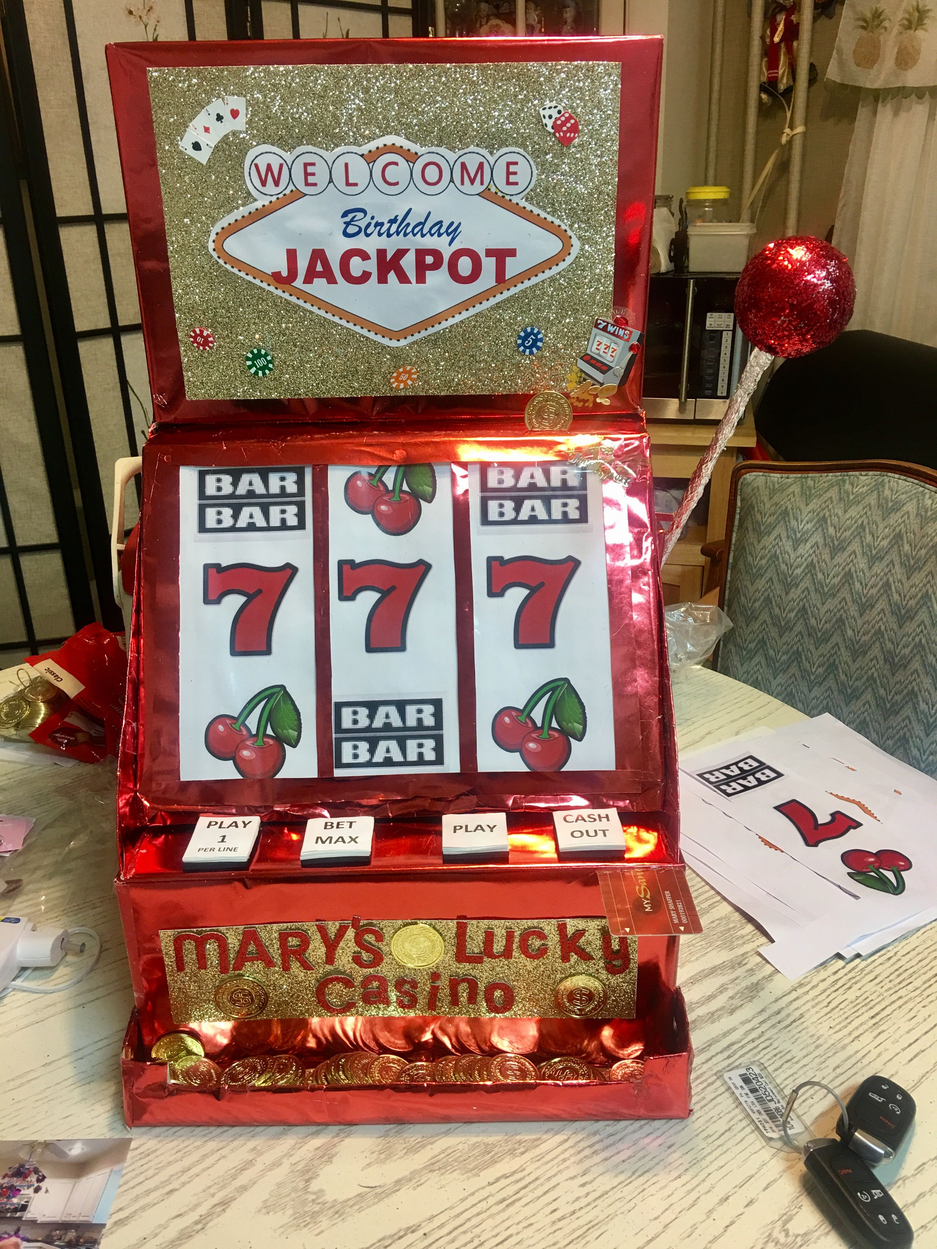 DIY Slot Machine Card Box Made From Boxes And Wrapping