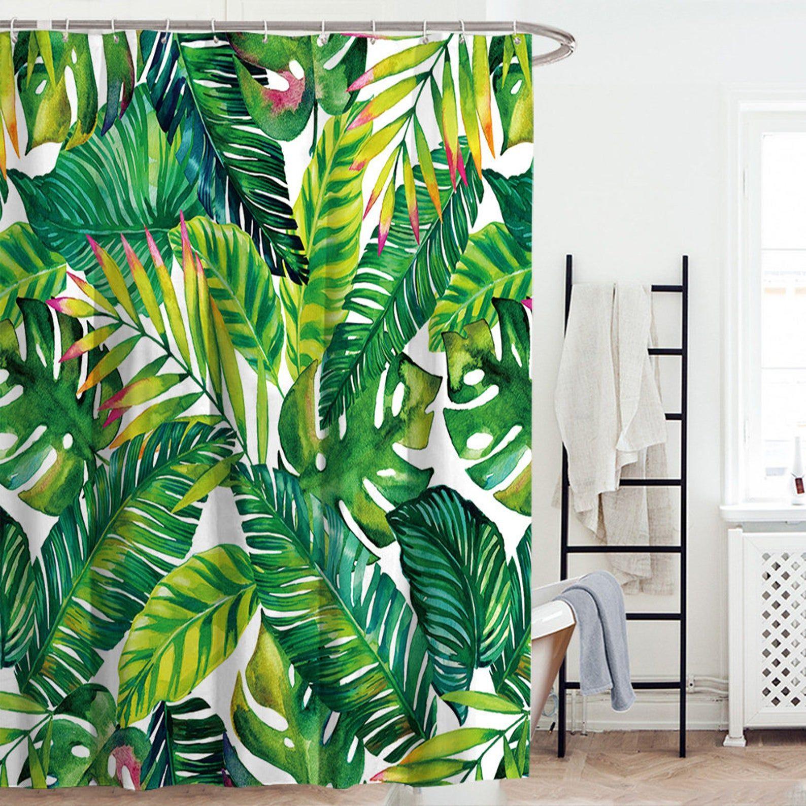 Tropical Banana Leaf Shower Curtain Bath For Bathroom Fiber Etsy