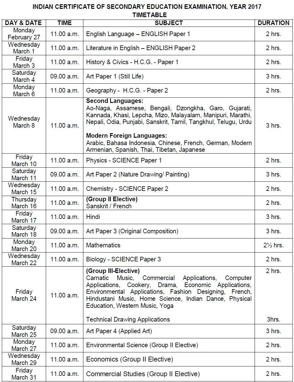 Icse 10th Exam Time Table 2018 Icse 10th Date Sheet Icse 10th Date