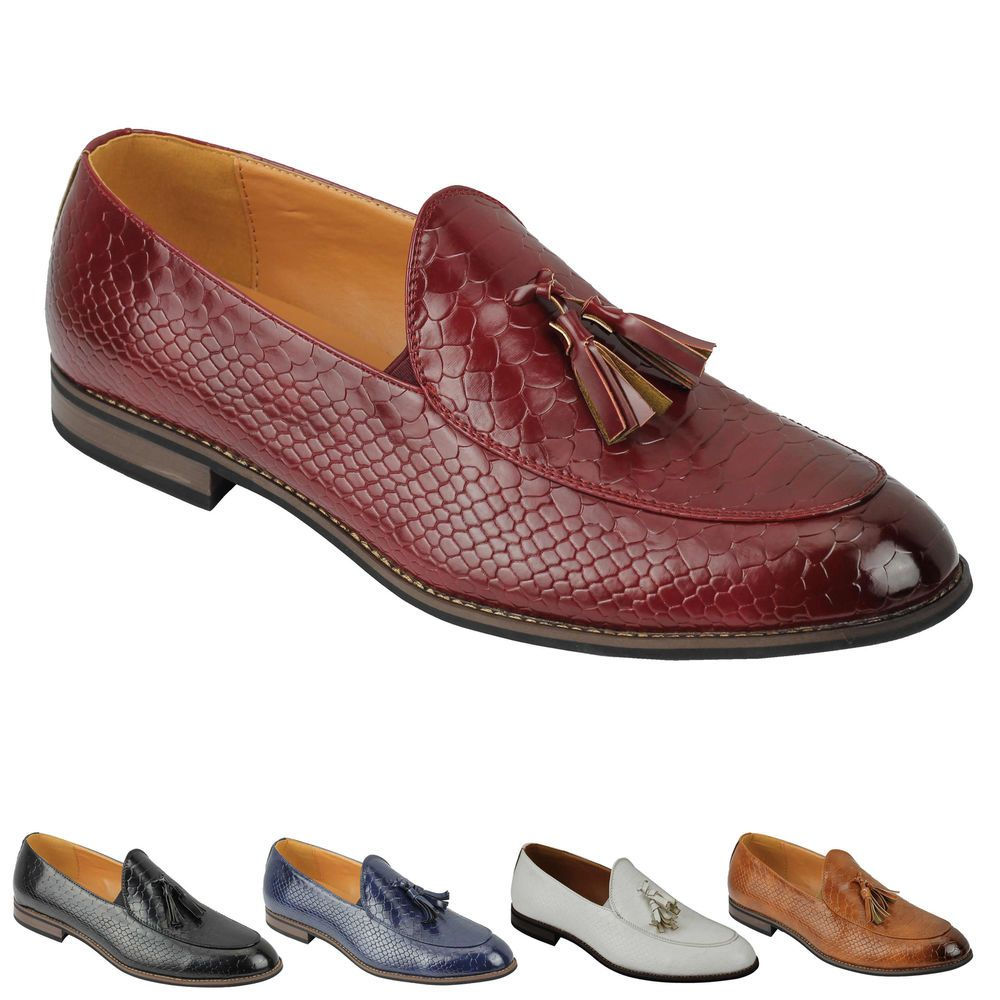 Mens Vintage Snakeskin Print Patent Shiny Leather Tassel Loafers Smart Casual Retro MOD Shoes