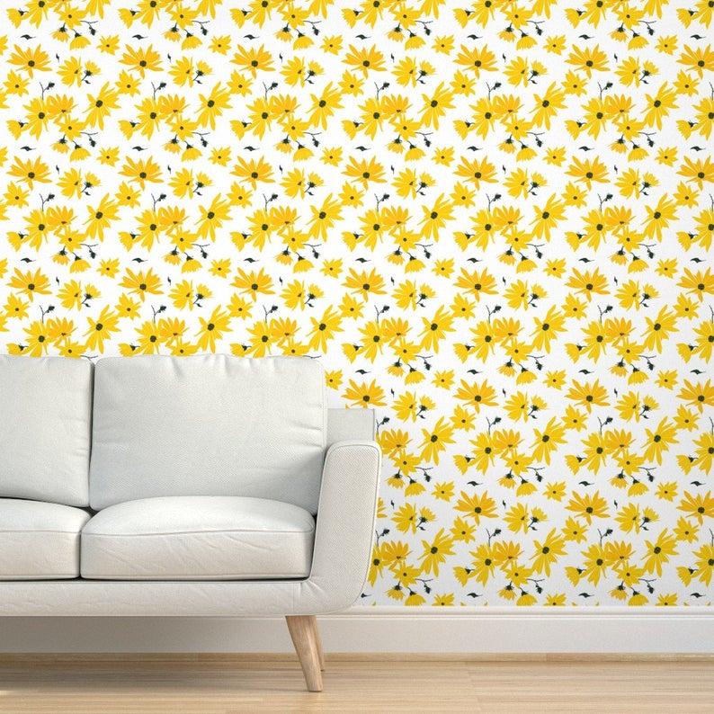 Flower Wallpaper Topinambour Jerusalem Artichoke By Etsy Flower Wallpaper Self Adhesive Wallpaper Wallpaper